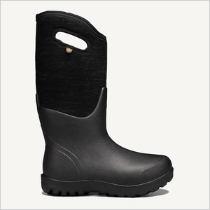 Side view of Bogs Neo-Classic Tall Melange Boot in black multi.