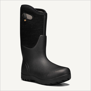 Side angled view of Bogs Neo-Classic Tall Melange Boot in black multi.