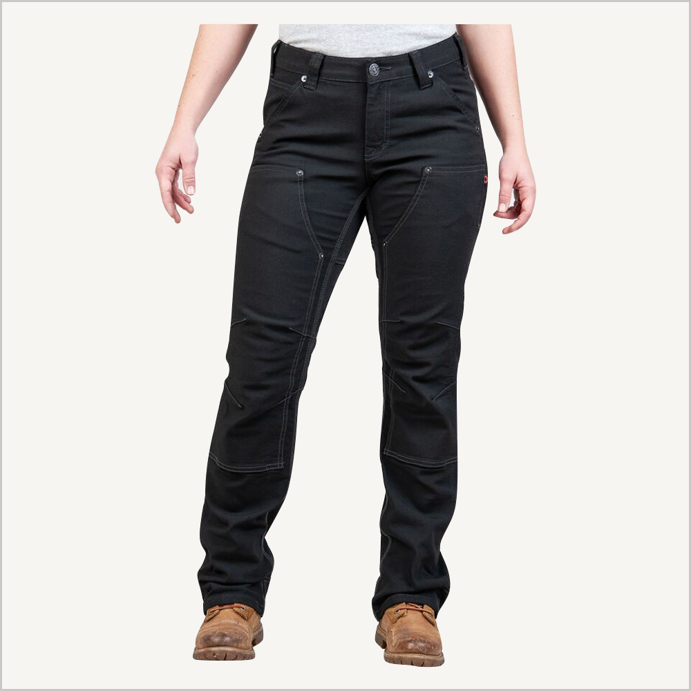 Front view of woman wearing Dovetail Brit Utility pants in No Fade Black Canvas.