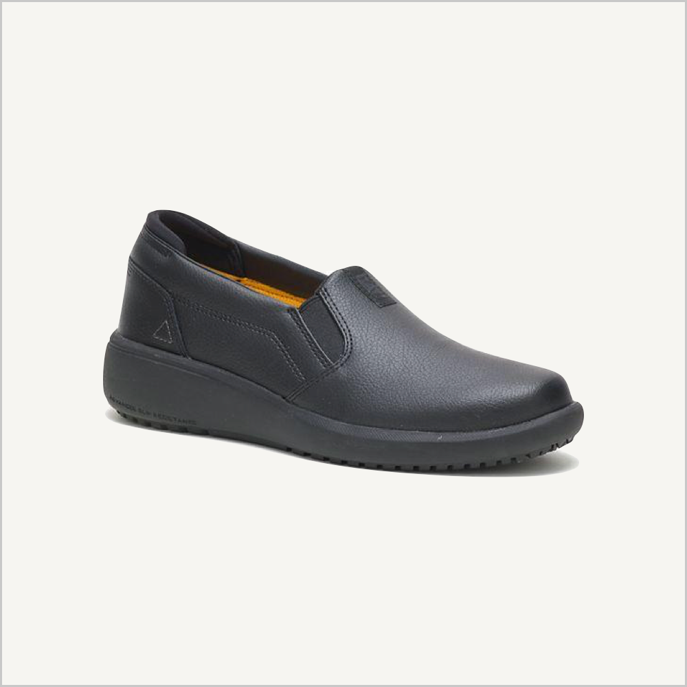 Side angled view of CAT ProRush SR+ Slip on shoes in black.