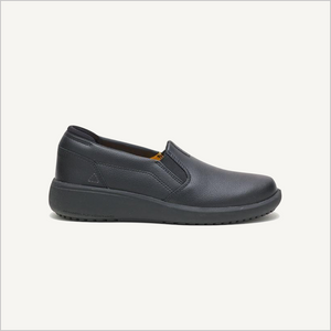 Side view of CAT ProRush SR+ Slip on shoes in black.