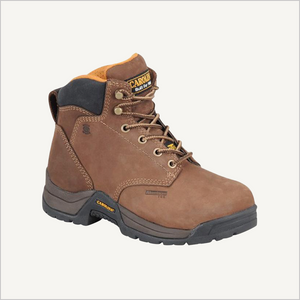 Side angled view of Carolina Raleigh 5 inch Internal Met Guard boots in brown.