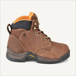 Side view of Carolina Raleigh 5 inch Internal Met Guard boots in brown.