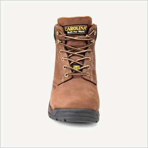 Front view of Carolina Raleigh 5 inch Internal Met Guard boots in brown.