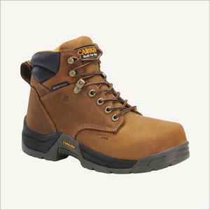 Side angled view of Carolina Raleigh 6 inch Composite Toe Waterproof boot in Brown.
