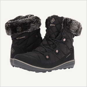 Side angled view of pair of Columbia Women's Heavenly Shorty Omni-Heat Waterproof Boot in black