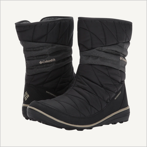 Side angled view of pair of Columbia Women's Heavenly Slip 2 Omni-Heat Waterproof Boot in black