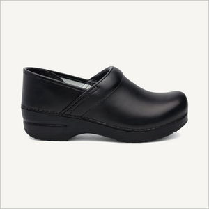 Side view of Dansko Women's Professional Clog in Black Cabrio