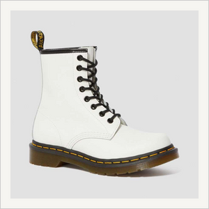 Side view of Dr. Martens 8 Eye 1460 Slip Resistant Lace Boot in White.