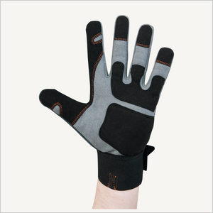 A raised hand wearing Dovetail Impact Protective Work Glove.  The palm side is facing the camera.
