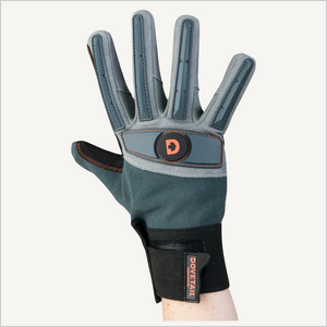 A raised hand wearing Dovetail Impact Protective Work Glove.  The backside is facing the camera.