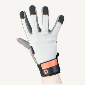 One hand raised in the air, wearing Dovetail Multi-Purpose Work Glove. The glove is white with black and grey tips and a black and orange cuff. The backside is facing the camera and the fingers are spread out.