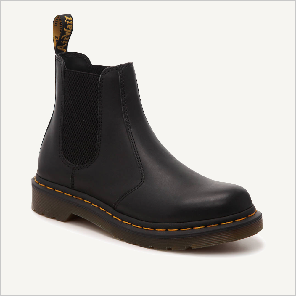 Side angled view of Dr. Martens 2976 Chelsea Boot in Black Nappa.