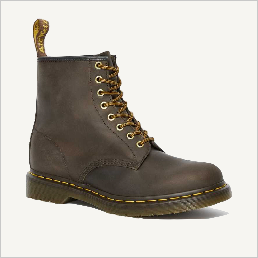 Side angled view of Dr. Martens 8 Eye 1460 Slip Resistant Lace Boot in Aztec.