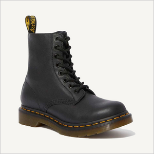 Side angled view of Dr. Martens 8 Eye 1460 Slip Resistant Lace Boot in Black.