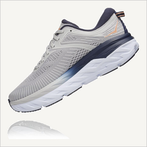 Floating side view of Hoka One One Bondi 7 Sneaker in Lunar Rock/ Black Iris.