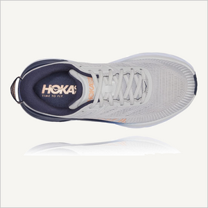 Top view of Hoka One One Bondi 7 Sneaker in Lunar Rock/ Black Iris.