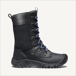 Side view of Keen Greta Tall Waterproof Boot in Black.