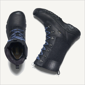 Top view of Keen Greta Tall Waterproof Boot in Black. The boot on the right is laying on its side.