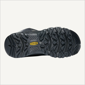 Bottom tread view of Keen Greta Tall Waterproof Boot in Black.