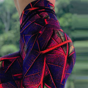3D Leaves Printed Fitness leggings