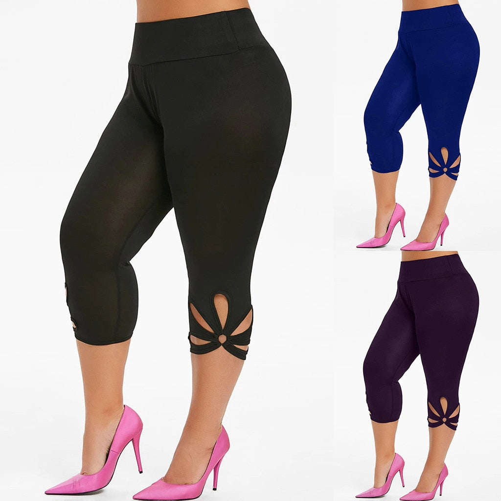 Fashion Solid Hollow Elastic Waist Leggings