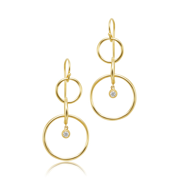 18kt YG Dangling Circle Earrings with Diamonds