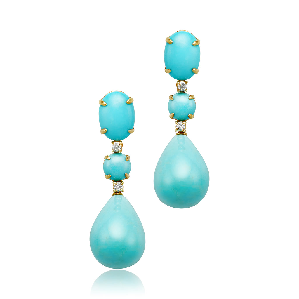 Turquoise and Diamond Drop Earrings in 18kt RG