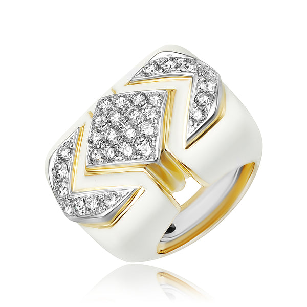 2.05 ctw Diamond and White Enamel Deco Ring in 18kt WG/YG