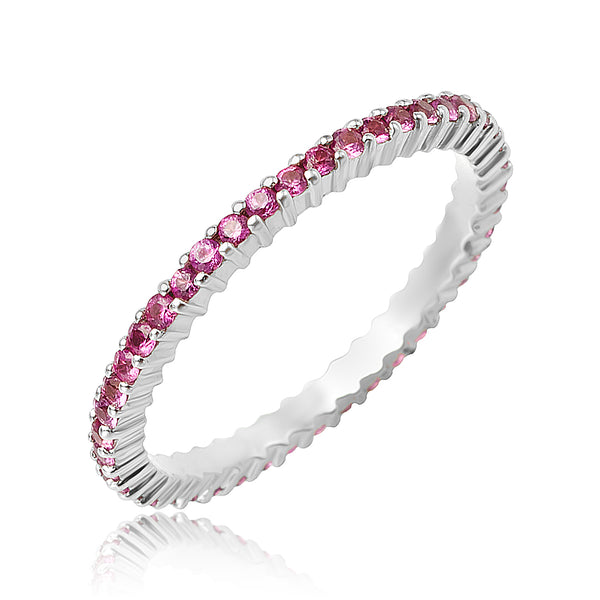 0.70 ctw Round Pink Sapphire Eternity Band in 18kt WG