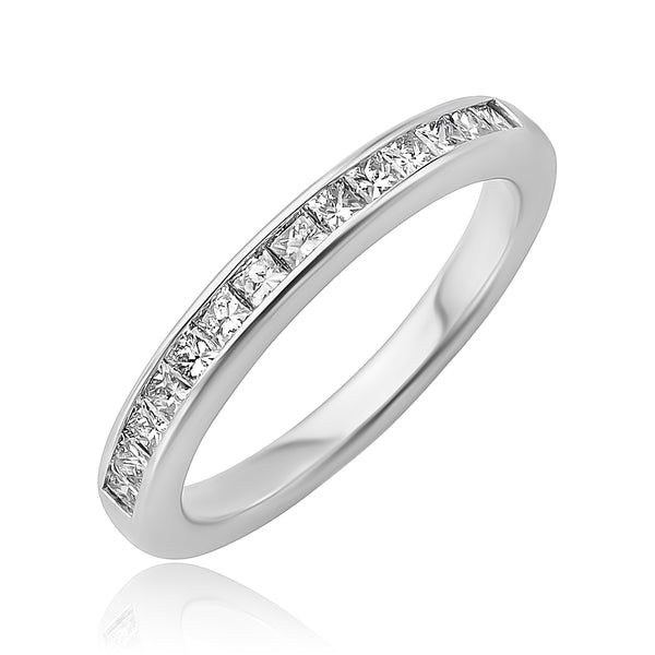 0.55 ctw Princess Cut Diamond Channel Set Band in 18kt WG