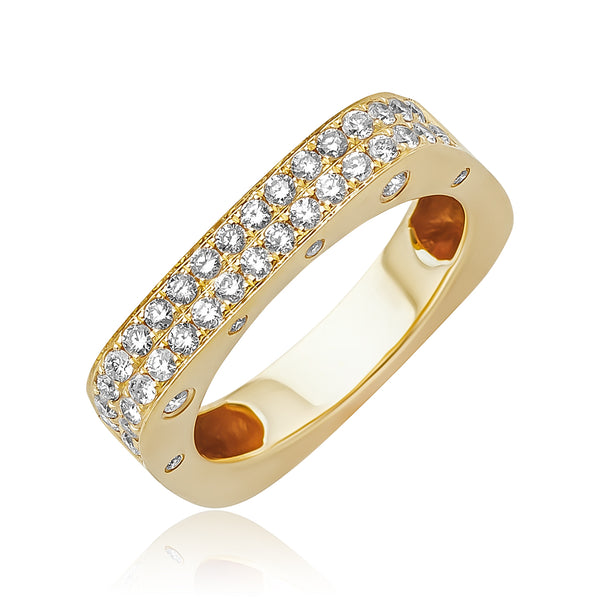 0.61 ctw Diamond Square Band in 18kt YG