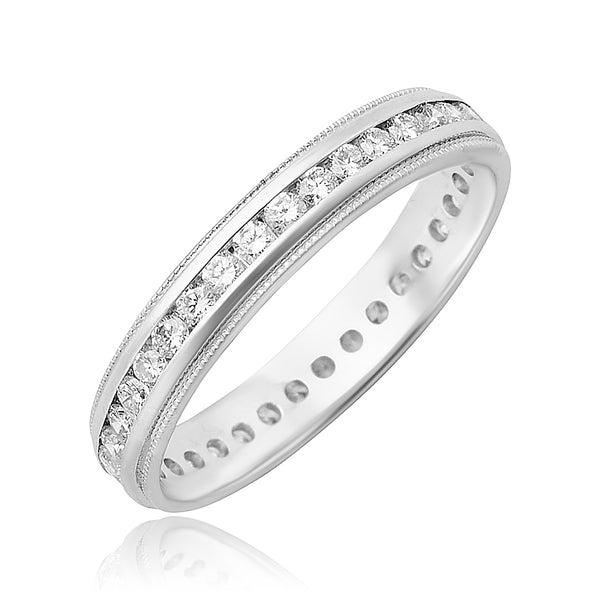 0.50 ctw Round Brilliant Cut Diamond Channel Set Eternity Band with Milgrain Detail in 18kt WG