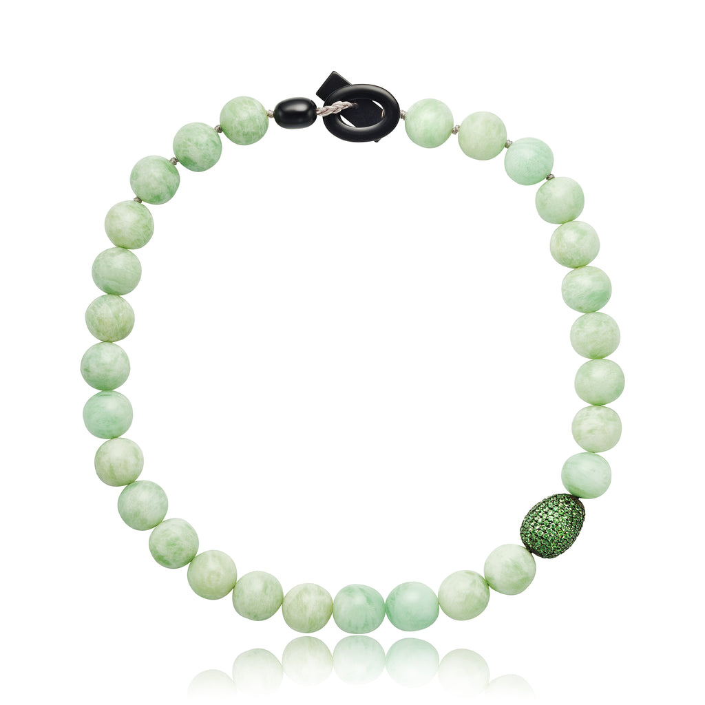 "17"" Green Moonstone and Tsavorite Bead Necklace with Bakelite Clasp"
