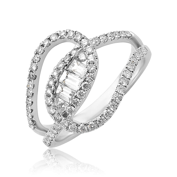 0.75ctw Baguette and Round Brilliant Cut Diamond Double Loop Ring in 18kt WG