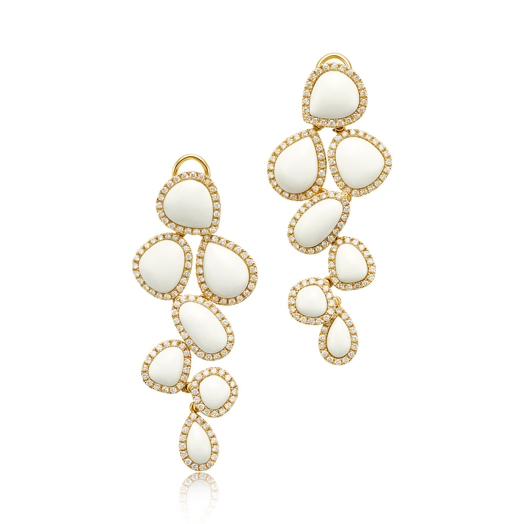 White Agate 7-Piece Dangle Earrings with Diamonds in 18kt YG