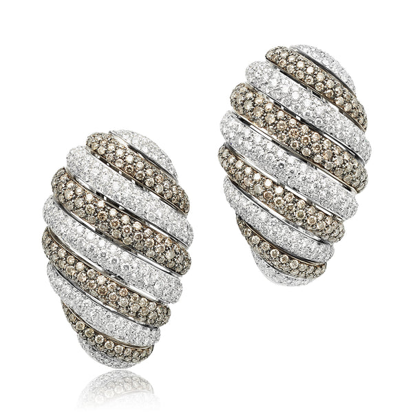 6.03 ctw Brown and White Diamond Earrings in 18kt WG