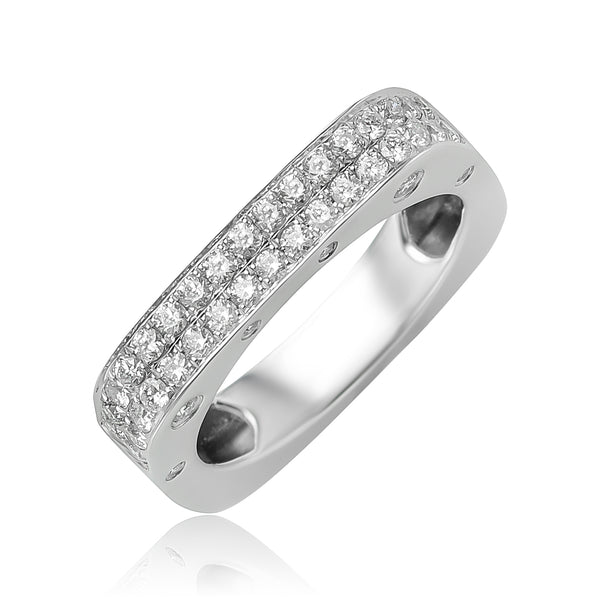 0.61 ctw Diamond Square Band in 18kt WG
