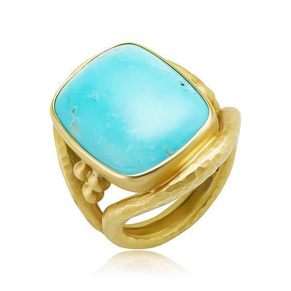"""Kingman"" Turquoise Cushion Ring in 18kt YG"