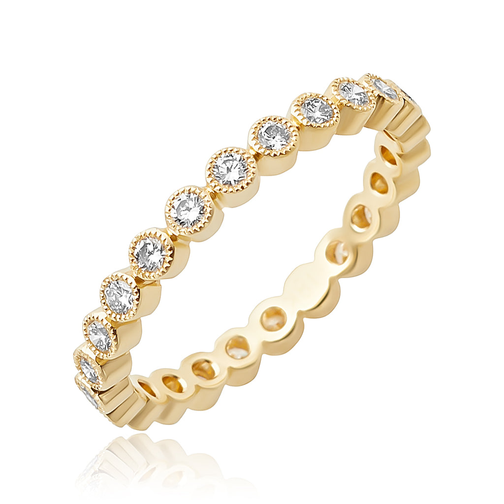 0.55 ctw Round Brilliant Cut Diamond Stackable Band with Milgrain Detail in 18kt YG