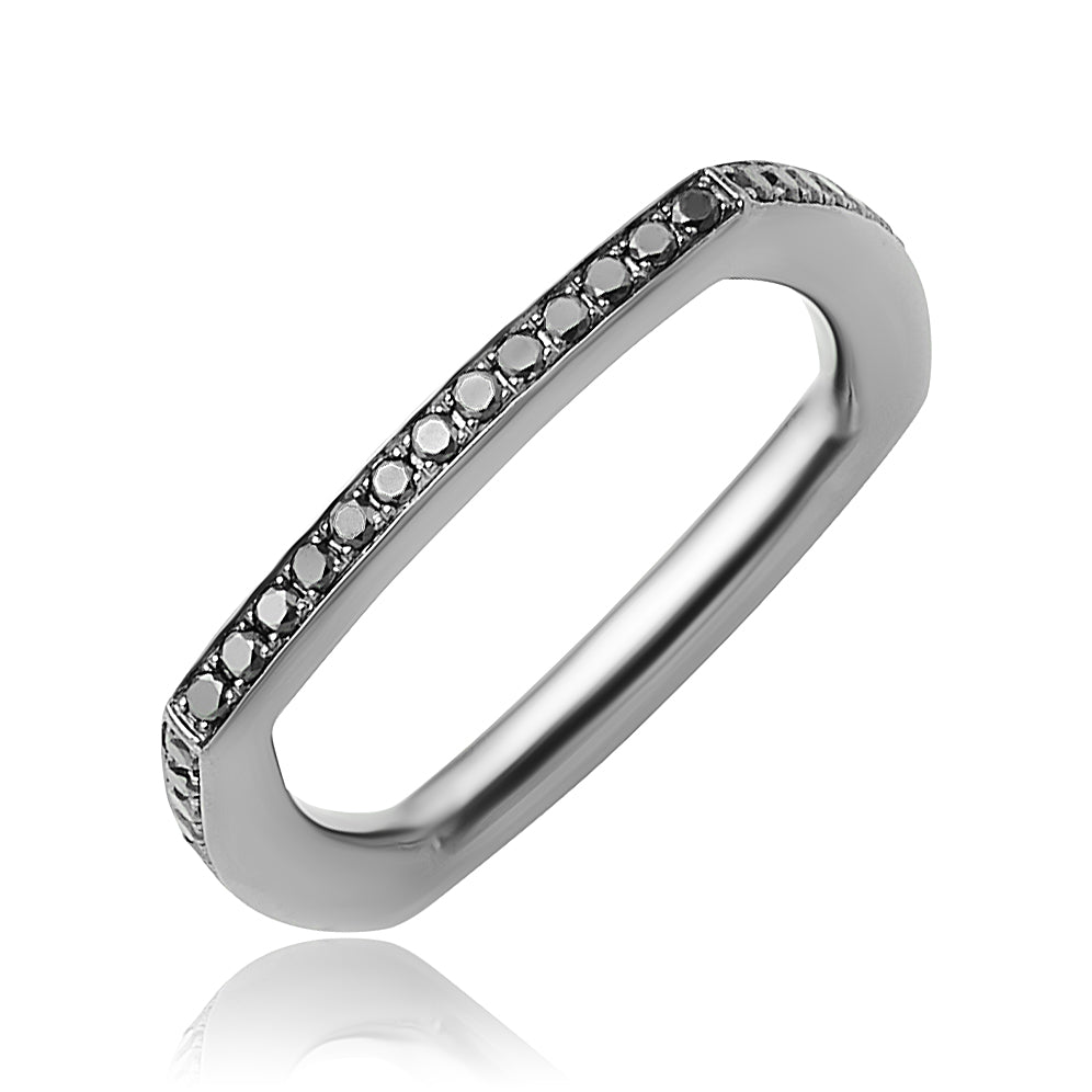 0.44 ctw Black Diamond Square Eternity Band in 18kt Black Gold