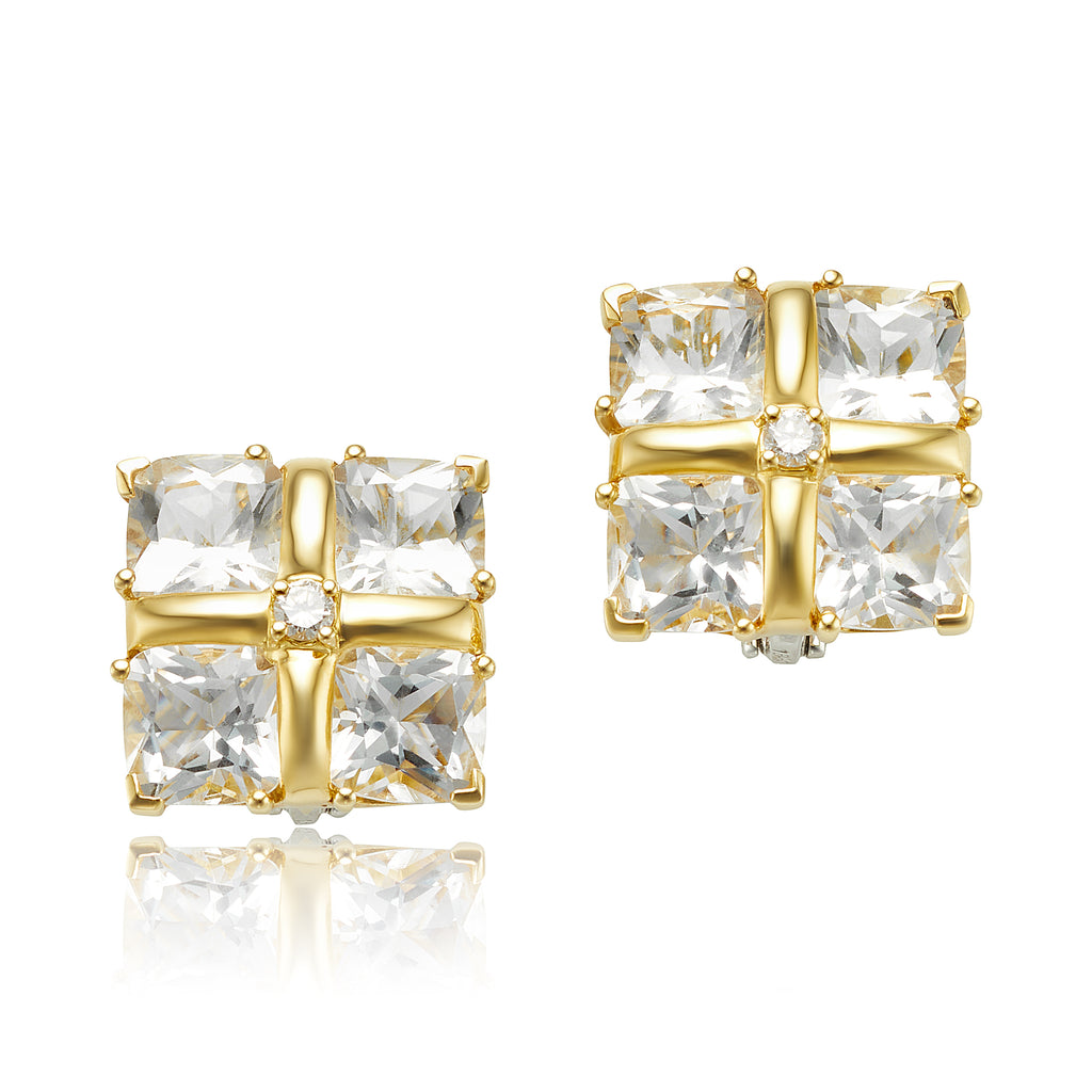 Rock Crystal and Diamond Clip Earrings in 18kt YG