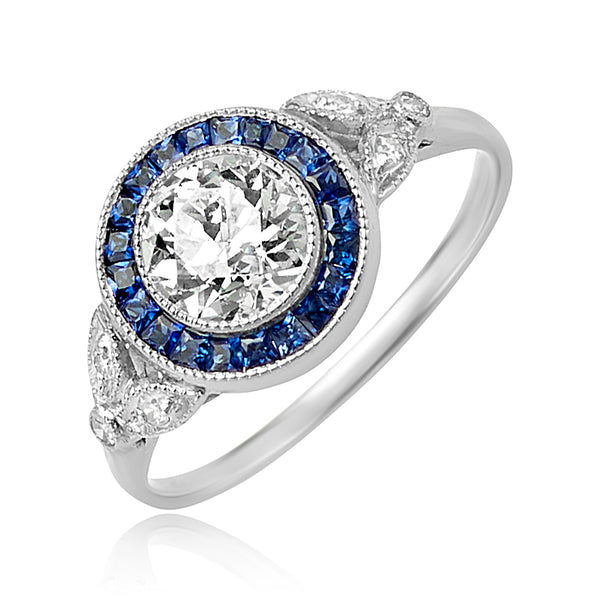0.80 ct Round Brilliant Cut Diamond and Sapphire Ring in Platinum