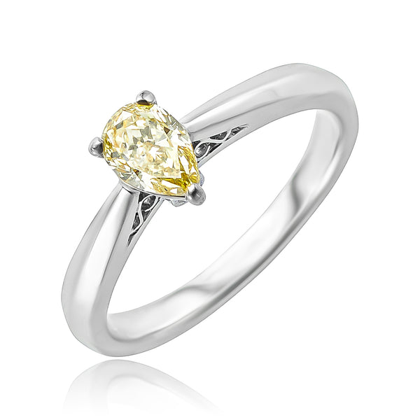 0.62 ct Fancy Yellow Pear Shaped Diamond Solitaire Ring in Platinum/18kt YG
