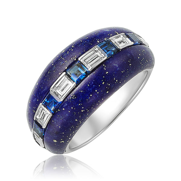 Sapphire, Diamond, and Lapis Ring in 18kt WG