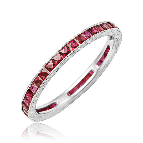 1.00 ctw Ruby Channel Set Eternity Band with Milgrain Detail in 18kt WG