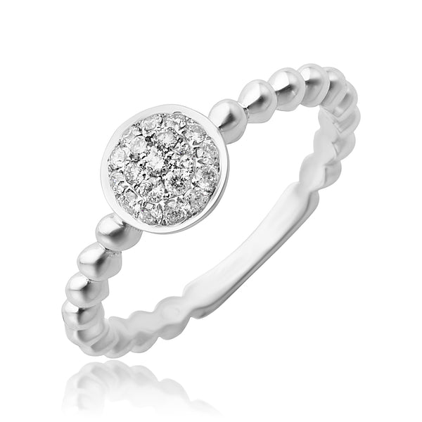 0.20 ctw Pave Diamond Stackable Ring in 18kt WG