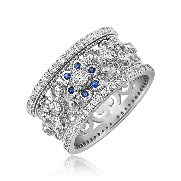 0.77 ctw Diamond and 0.20 ctw Sapphire Wide Filigree Band in 18kt WG