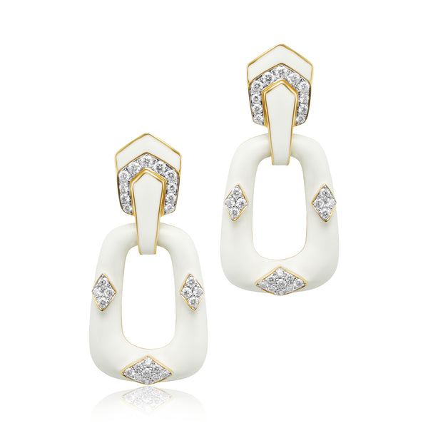 2.49 ctw Diamond and White Enamel Door Knocker Earrings in 18kt YG