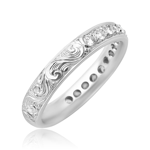 0.74 ctw Round Brilliant Cut Diamond Band with Engraved Detail in Platinum